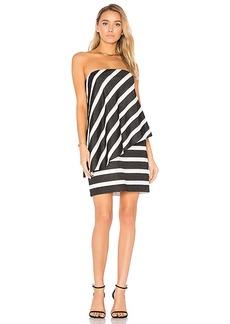 Halston Heritage Strapless Tiered Drape Stripe Dress in Black & White. - size 2 (also in 0,6)