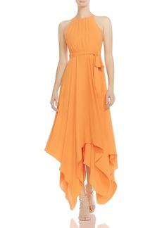 HALSTON HERITAGE Strappy & Belted Handkerchief-Hem Maxi Dress