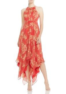 HALSTON HERITAGE Strappy Handkerchief-Hem Maxi Dress