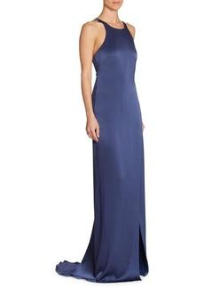 Halston Heritage Strappy Satin Halter Gown