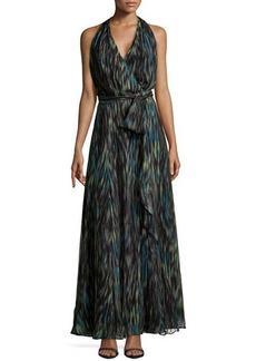 Halston Heritage Striated Chiffon Halter Maxi Dress