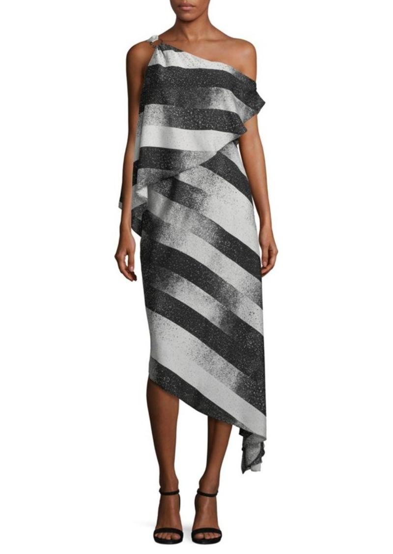Halston Heritage Stripe Asymmetric Dress