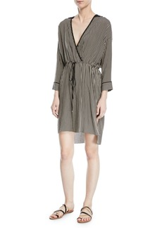 Halston Heritage Stripe-Print V-Neck Self-Tie Kaftan Dress