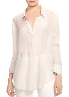 HALSTON HERITAGE Striped Button-Down Peplum Shirt