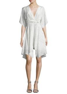 Halston Heritage Striped Half-Sleeve Kaftan Dress