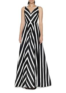 HALSTON HERITAGE Striped Jacquard Gown
