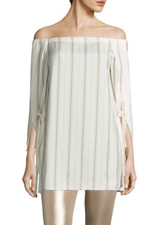 Halston Heritage Striped Off-The-Shoulder Top