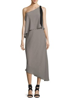 Halston Heritage Striped One-Shoulder Asymmetric Cocktail Dress
