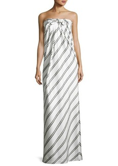 Halston Heritage Striped Strapless Knot-Front Gown
