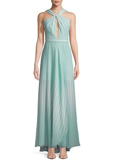 Halston Heritage Striped Twist-Front Floor-Length Gown