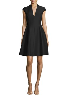Halston Heritage Structured Cap-Sleeve Dress