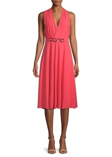 Halston Heritage Surplice Knee-Length Dress
