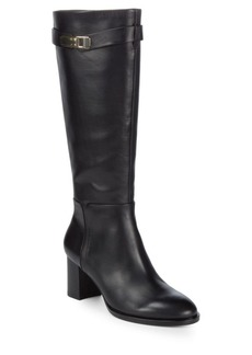 Halston Heritage Tall Leather Buckle Boots