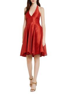 HALSTON HERITAGE Textured Jacquard Halter Dress
