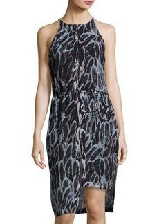 Halston Heritage Tiered-Hem Feather-Print Sheath Dress