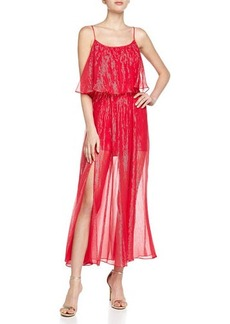 Halston Heritage Tiered Metallic Gown