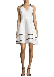 Halston Heritage Tiered-Skirt Contrast Crepe Dress