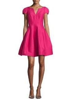 Halston Heritage Tulip-Skirt Split-Neck Party Dress