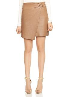Halston Heritage Twist-Detail Crossover Leather Skirt