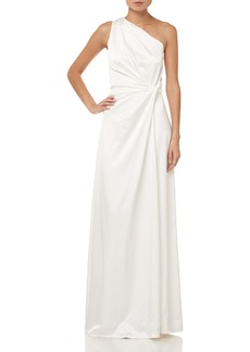 Halston Heritage Twist Waist One Shoulder Satin Sheath Gown