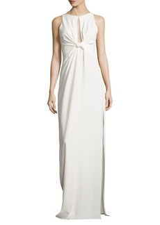 Twisted Front Crepe Gown