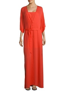 Halston Heritage Two-Piece Slip and Wrap Dress Set