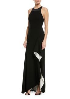 Halston Heritage Two-Tone Asymmetric Ruffle Gown