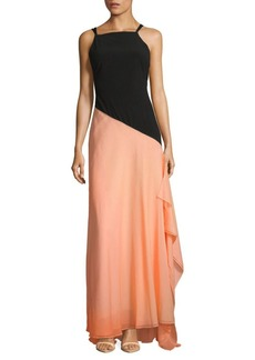 Halston Heritage Two-Tone Floor-Length Dress