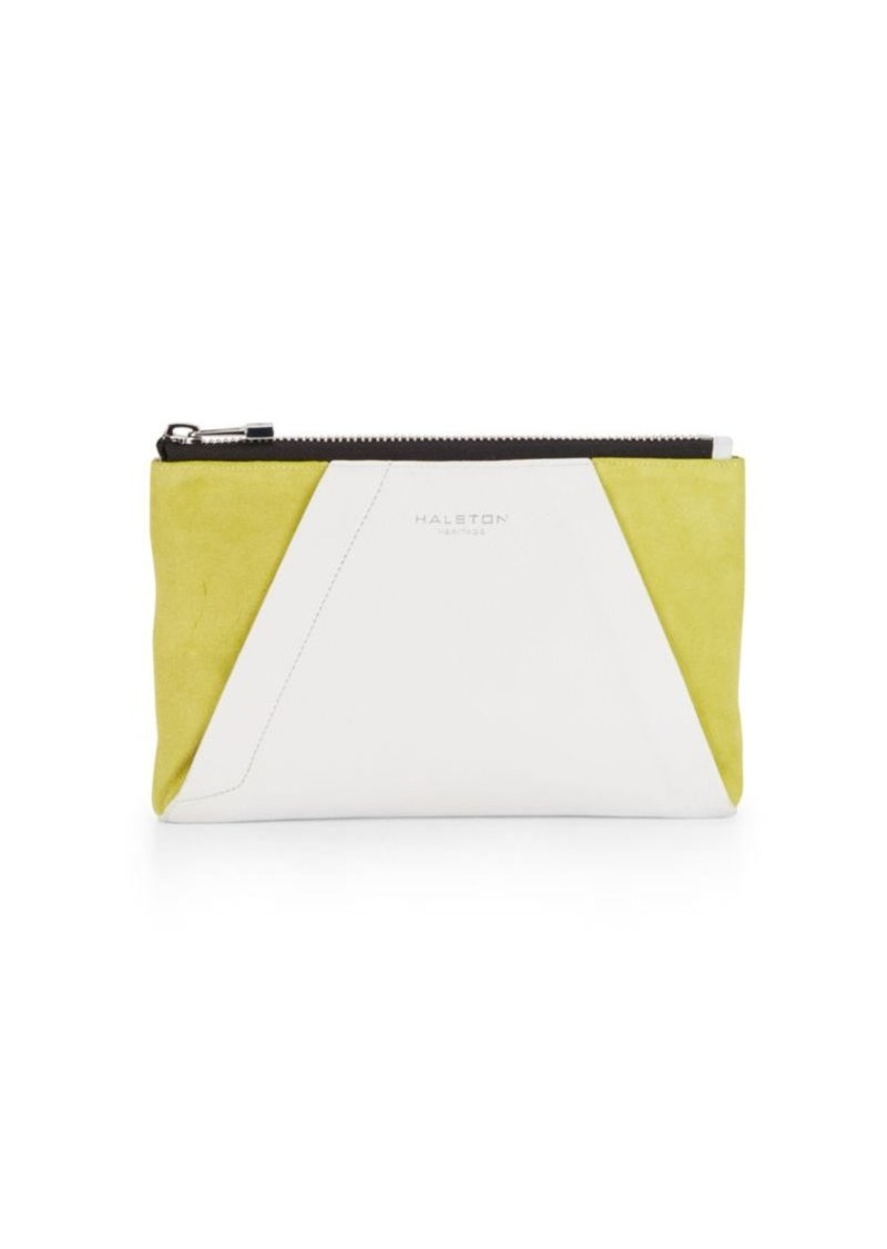 Halston Heritage Two-Tone Leather & Suede Clutch