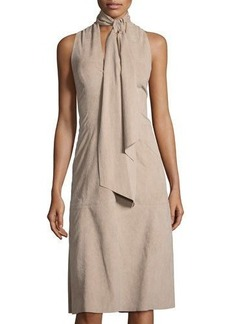 Halston Heritage Faux-Suede Halter-Neck Dress