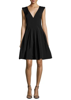 Halston Heritage V-Neck Cap-Sleeve Fit-and-Flare Cocktail Dress