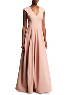 Halston Heritage V-Neck Cap-Sleeve Silk Faille Evening Gown