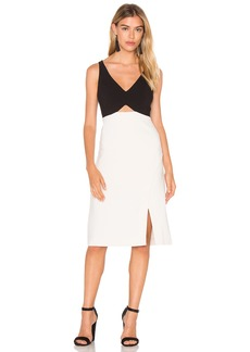 Halston Heritage V Neck Colorblock Sleeveless Dress