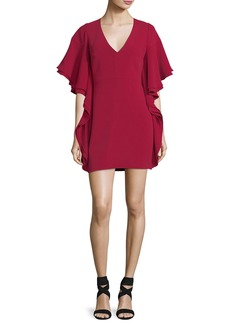 Halston Heritage V-Neck Draped-Sleeve Mini Cocktail Dress