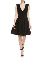 Halston Heritage V-Neck Fit-&-Flare Dress