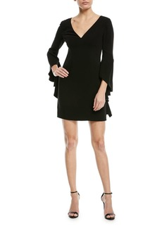 Halston Heritage V-Neck Flounce-Sleeve Mini Cocktail Dress