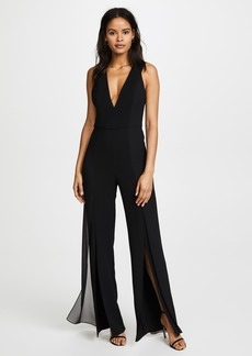 Halston Heritage V Neck Jumpsuit with Chiffon Panels