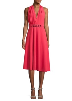 Halston Heritage V-Neck Knee-Length Dress