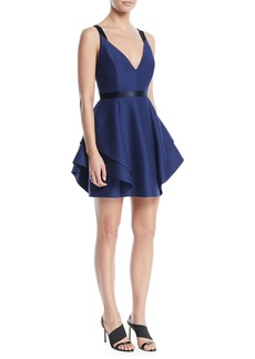Halston Heritage V-Neck Mini Dress w/ Dramatic Flounce Skirt