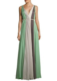 Halston Heritage V-Neck Pleated Gown