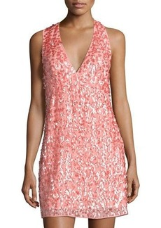 Halston Heritage V-Neck Racerback Sequined Dress