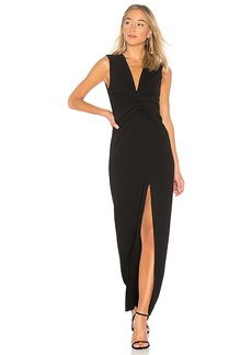 Halston Heritage V Neck Ruched Front Gown in Black. - size 2 (also in 0,8)
