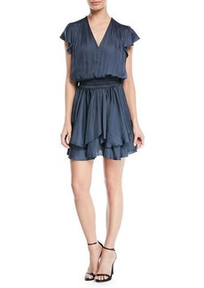 V-Neck Ruched-Waist Flounce Mini Dress