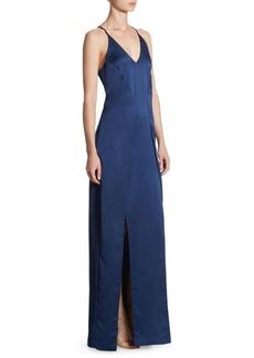 Halston Heritage V-Neck Satin Slip Gown