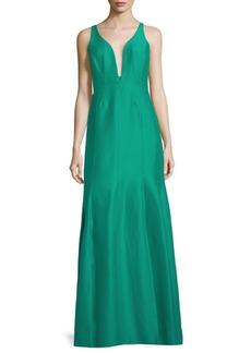 Halston Heritage V-Neck Sleeveless Ball Gown