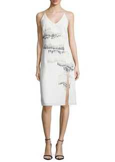 Halston Heritage V-Neck Sleeveless Embroidered Dress
