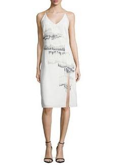 Halston Heritage V-Neck Sleeveless Embroidered Dress