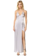 Halston Heritage V Neck Slip Dress with High Slit