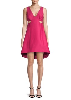 Halston Heritage Wide V-Neck A-Line Dress