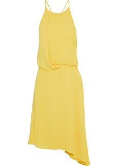 Halston Heritage Woman Asymmetric Chiffon-trimmed Crepe De Chine Dress Yellow